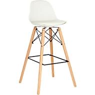 Barkruk STEELWOOD, kunststof, met houten poten, zitkussen, zithoogte 740 mm, 2 stuks, wit