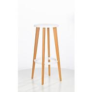 Barkruk WOODY, ABS-kunststof, met voetenring, massief houten poten, zithoogte 760 mm, 2 stuks, wit