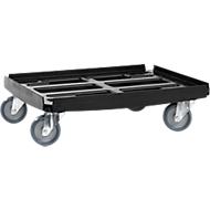 Basic Transportroller Serie WTR2, für 600 x 400 mm Boxen, Polypropylen, stapelbar, schwarz