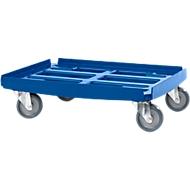Basis transportroller WTR2, voor bakken van 600 x 400 mm, polypropeen, stapelbaar, blauw