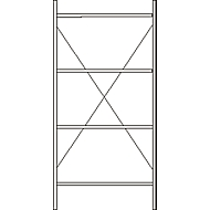 Basisstelling, 4 legborden, H 2278 x B 1055 x D 300 mm, gelakt