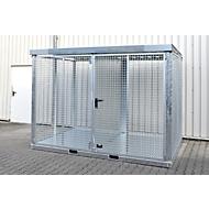 Bauer Gasflaschen Container TYP GFC-E, abschließbar, L 3135 x B 2170 x H 2260 mm, Gitterrostboden