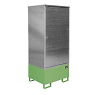 BAUER GS-1 kast voor gevaarlijke stoffen, plaatstaal, toegankelijk voor rolstoelgebruikers, voor 1 x 200 l vat, B 840 x D 690 x H 1930 mm, groen