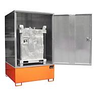 BAUER GS-4 kast voor gevaarlijke stoffen, plaatstaal, toegankelijk voor rolstoelgebruikers, voor 1 x 1000 l IBC, B 1475 x D 1460 x H 2410 mm, oranje