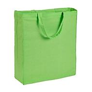 Baumwolltasche Bodenfalte - kurze Henkel - Baumwolle, Hellgrün, Auswahl Werbeanbringung optional