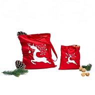 Baumwolltasche klein Merry Christmas, Rot, Auswahl Werbeanbringung optional