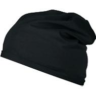 Beanie Mütze, Einheitsgröße, 100 % Bio-Baumwolle, Werbefläche 80 x 20 mm, schwarz