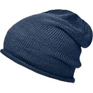 Beanie Mütze, Einheitsgröße, extra lang & mit Rollkante, Polyacryl, Stickerei auf Anfrage, dunkelblau