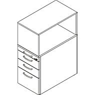 Beistellcontainer mit Aufsatzregal, abschließbar, Griff 1, lichtgrau