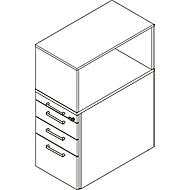 Beistellcontainer mit Aufsatzregal, abschließbar, Griff 2, lichtgrau