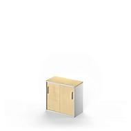 Beistellschrank TETRIS SOLID, 2 OH, B 800 x H 717 mm, in Schreibtischhöhe, inkl. 25 mm Abdeckplatte, Ahorn/weißalu
