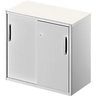 Beistellschrank TETRIS SOLID, 2 OH, in Schreibtischhöhe, B 800 mm, 25 mm Abdeckplatte, weiß/weißalu