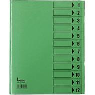 bene Ordnungsmappe mit Schutzumschlag, DIN A4, 12-tlg., grün intensiv
