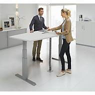 Besprechungstisch ERGO-T, T-Fuß, Bootsform, man. höhenverstellbar, B 2000 mm, lichtgrau