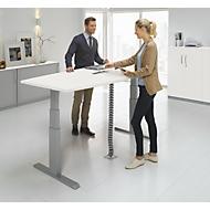 Besprechungstisch ERGO-T, T-Fuß, Bootsform, Netbox, zweist. elektr. höhenverstellbar, B 2000 x H 645-1305 mm, weiß