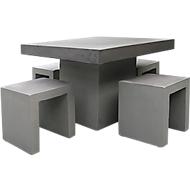 BEST Kleine Sitzgruppe Rockall, wetterfest, Betonoptik, Tisch quadratisch