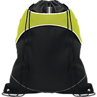 Beutel SHOOP LUX, mit Kordelzug, mit Haupt- und Seitenfach, schwarz/grün