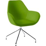 Bezoekersstoel KONSIT, spinpoot, stof groen