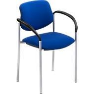 Bezoekersstoel Styl, blauw, aluminium zilver
