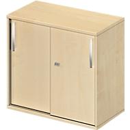 Bijzet-/Opzetkast met schuifdeuren LOGIN, 2 ordnerhoogten, B 800 x D 420 x H 726 mm, esdoornpatroon/esdoornpatroon