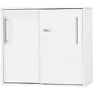 Bijzet-/Opzetkast met schuifdeuren Start Up, op tafelhoogte, afsluitbaar, B 800 x D 420 x H 726 mm, wit/wit