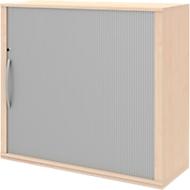 Bijzet roldeurkast BARI, 4 legborden, rechts openend, slot & middenwand, B 1200 x D 430 x H 1117 mm, esdoornpatroon