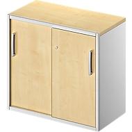 Bijzetkast TETRIS SOLID, 2 ordnerhoogten, op bureautafelhoogte, B 800 mm, 25 mm afdekplaat, esdoorn/blank aluminium