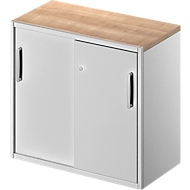 Bijzetkast TETRIS SOLID, 2 ordnerhoogten, op bureautafelhoogte, B 800 mm, 25 mm afdekplaat, kersen-Romana/wit aluminium