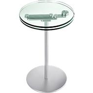 Bijzettafel met glas, twee draaibare glazen bladen, hoogte 535/565 mm