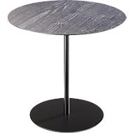 Bijzettafel STANLY, stalen frame zwart, Ø 450 x H 420 mm, gecarboniseerd hout
