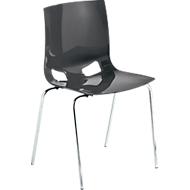 Bistrostuhl FONDO, 4-Bein-Kunststoffstuhl, Gestell verchromt, bis 6 Stühle stapelbar, anthrazit