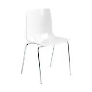 Bistrostuhl FONDO, 4-Bein-Kunststoffstuhl, Gestell verchromt, bis 6 Stühle stapelbar, weiß