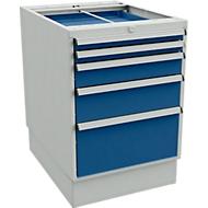 Bloc-tiroirs, 4 tiroirs avec socle,  l. 550 x P 715 x H 800 mm