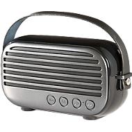 Bluetooth Lautsprecher Retro, 2 x 5 W, bis 10 m, UKW-Radio, Freisprechen, Werbedruck 55 x 15 mm, schwarz/titan