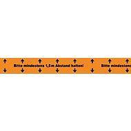 Bodenmarkierungsband Bitte mind. 1,5 m Abstand halten, Stärke 52 μm, Naturkautschuk, L 66 m x B 50 mm, PVC, l.orange, 6 St.