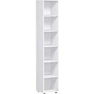 Boekenkast, 6 OH, 5 legborden, B 400 x D 400 x H 2160 mm, wit