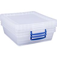 Boîtes de rangement empilables Really Useful Boxes, transparentes, avec couvercle 10,5 litres, 3 pièces