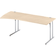 boogvormige bureautafel COMBITEC, B 2000 x D 800/1000 mm, esdoorn/blank aluminium