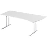 boogvormige bureautafel COMBITEC, B 2000 x D 800/1000 mm, lichtgrijs/blank aluminium