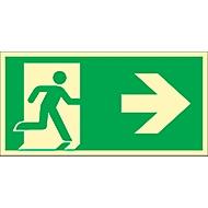 Bord Vluchtweg, wijst naar rechts, HLK