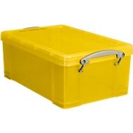Box, kunststof, transparant geel, 9 l