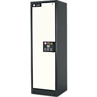 Brandveiligheidsopslagkast type 90, B 600 x D 615 x H 1953mm, deur links 4 plaatstalen schuifladen, grijs/zuiver wit (RAL 9010)