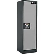 Brandveiligheidsopslagkast type 90, B 600 x D 615 x H 1953mm, deur rechts 4 plaatstalen schuifladen, grijs/zilver (RAL 7016)
