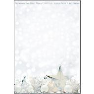 Briefpapier voor Kerstmis White Stars, A4, zilveren foliedruk, 25 vellen