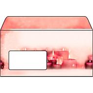 Briefumschlag mit Weihnachtsmotiv Sigel Red Candlelight, DIN lang, 90g/m², 50 Stück