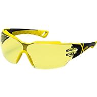 Bril met veren Uvex pheos cx2, EN 166, EN 170, Polycarbonaat amber, frame zwart/geel, 5 stuks