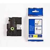 Brother Schriftbandkassette TZe-FX211, 6 mm breit, weiß/schwarz