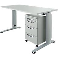 Büromöbelset 2-tlg. LOGIN C-Fuß Schreibtisch, B 1600 mm + Rollcontainer, 3 Schübe, Utensilienauszug, Zentralverschluss, lichtgrau