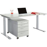 Büromöbelset 2-tlg. MODENA FLEX, höhenverstellbar, Breite 1600 mm + Rollcontainer, lichtgrau