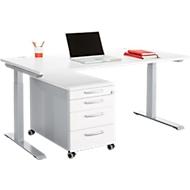 Büromöbelset 2-tlg. MODENA FLEX, höhenverstellbar, Breite 1600 mm + Rollcontainer, weiß